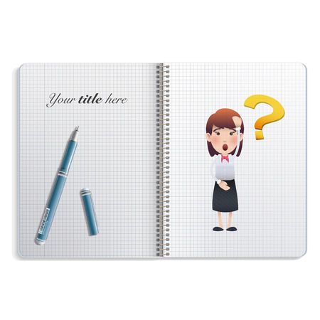 businesswoman printed on notebook over white  Vector