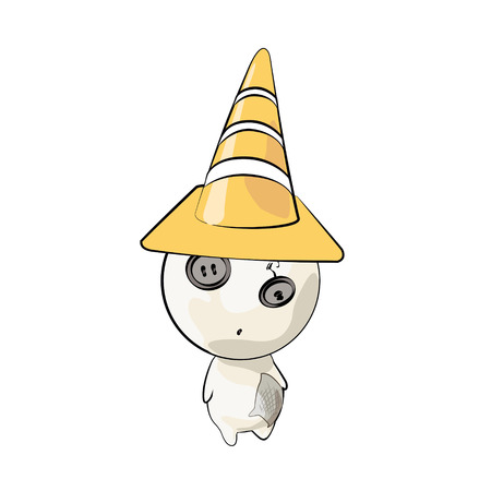 Cute characters with cone over white.  Vector