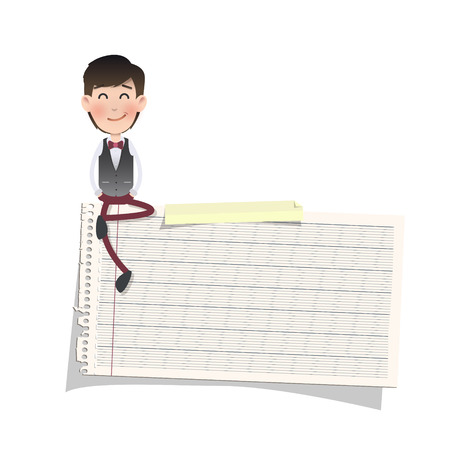 Businessman with note paper over white. Vector design photo