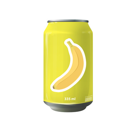 Yellow tin of banana juice. Vector design  Vector