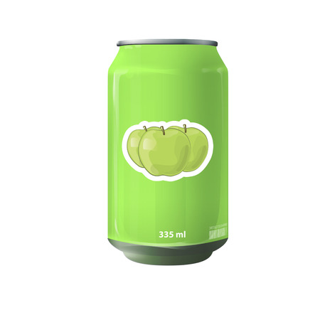 Green tin of fruit juice. Vector design  Vector