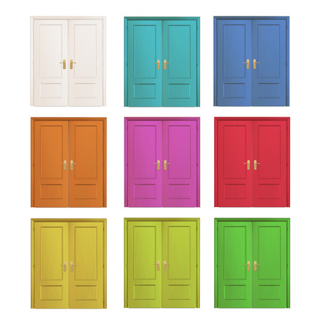 Collection of colorful doors isolated over white  Vector design   Vector