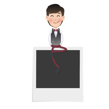 Businessman with photography over white. Vector design.  Vector