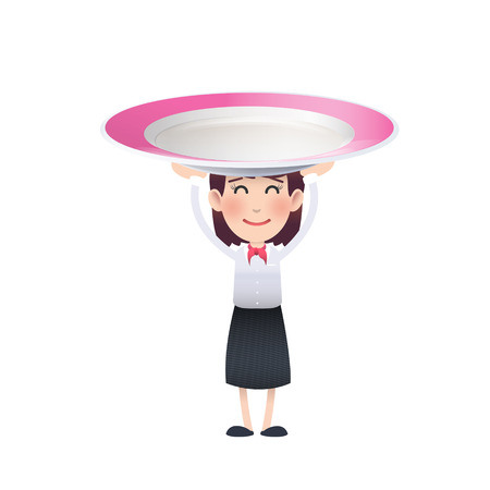 kitchen studio: Business woman with colorful plate over white background. Vector design.