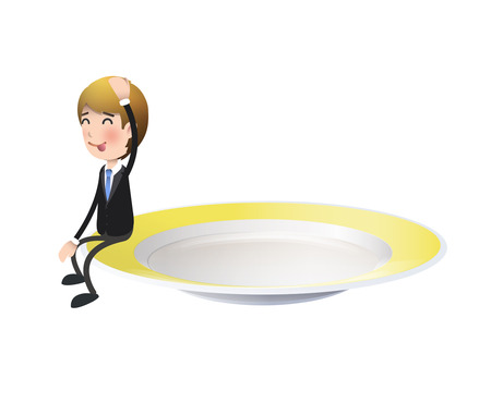 kitchen studio: Businessman with colorful plate over white background. Vector design.