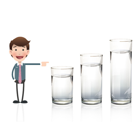 man drinking water: Businessman pointing to water glass over white background. Vector design.