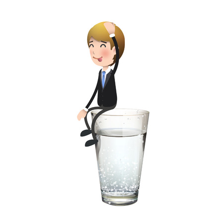 man drinking water: Businessman on water glass over white background. Vector design.
