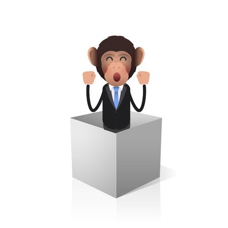 Business monkey inside a box over white background. Vector design.  Vector