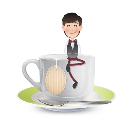 Businessman on cup of coffee over white background. Vector design.  Vector