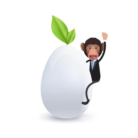 primate biology: Businessman on biologic egg over white background. Vector design.