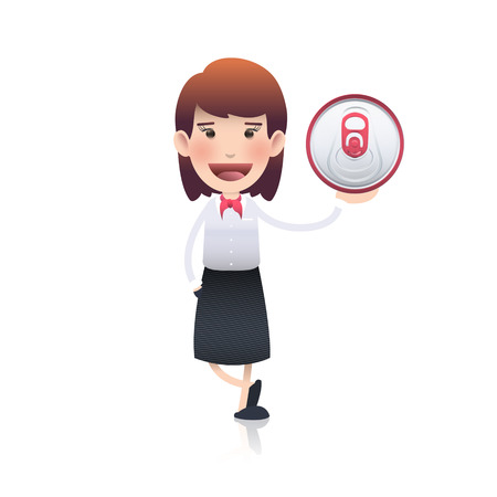 Businesswoman holding a red tin over white background. Vector design  Vector