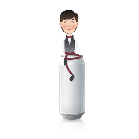 Businessman with can over white. Vector design  Vector