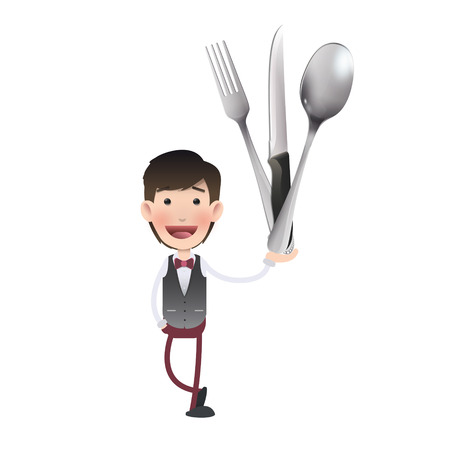 kitchen tools: Businessman holding kitchen tools over white background. Vector design.