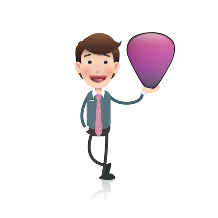 plectrum: Businessman holding a plectrum over white background. Vector design.