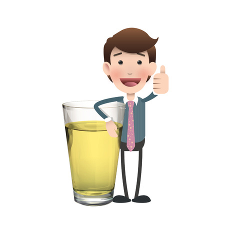 Businessman with realistic beer glass. Vector design  Illustration