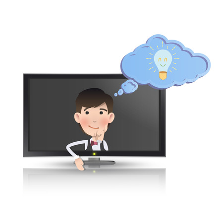 Businessman with realistic TV over white background. Vector design.  Vector