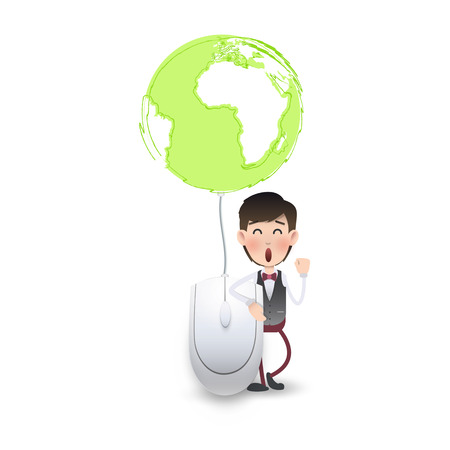 Businessman with computer mouse connected to a world icon. Vector design,
