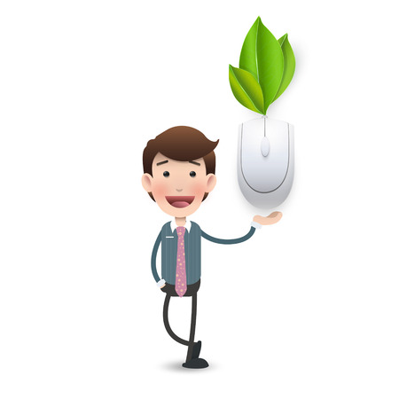 Business woman with computer mouse connected to a leaves. Vector design,  Illustration