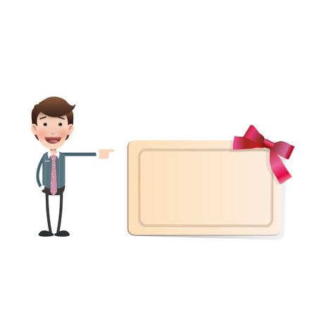 Businessman with Invitation card over white background Vector