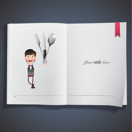 kitchen tools: Businessman holding kitchen tools printed on book