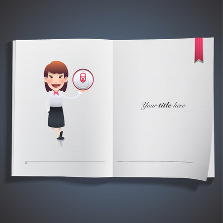 business woman with tin printed on book. Vector design Vector