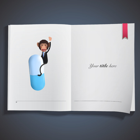 business monkey with pill printed on book. Vector design. Vector