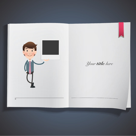 businessman with photography printed on book. vector design Vector