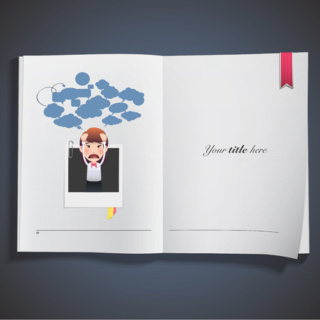business woman with photography printed on book. vector design Vector