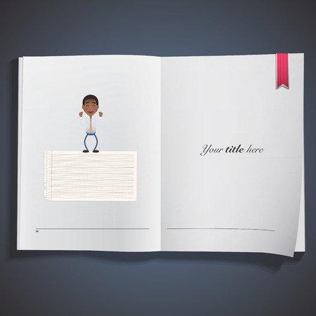 paper note: businessman with paper note printed on book Illustration