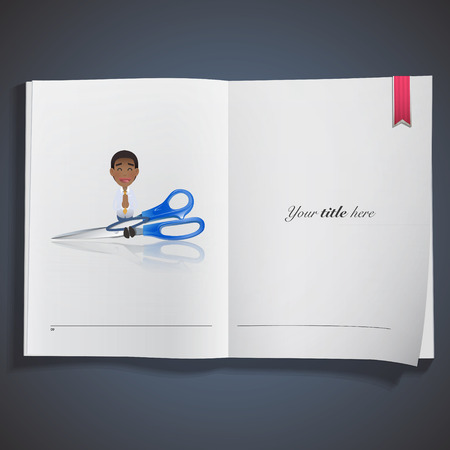 Businessman with scissors printed on book Vector