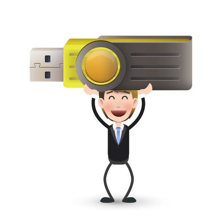 pendrive: businessman with pendrive over isolated white background