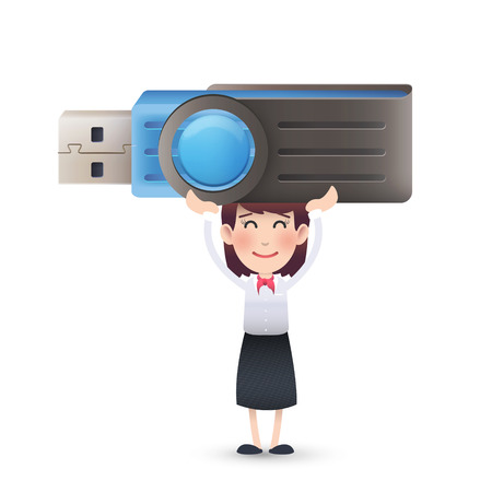 microdrive: business girl with pendrive over isolated white background