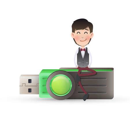 businessman with pendrive over isolated white background Vector