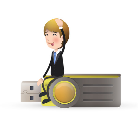 microdrive: businessman with pendrive over isolated white background