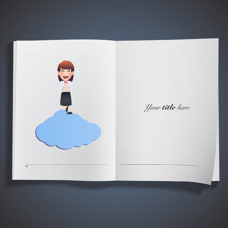 business woman with blue cloud printed on book Vector