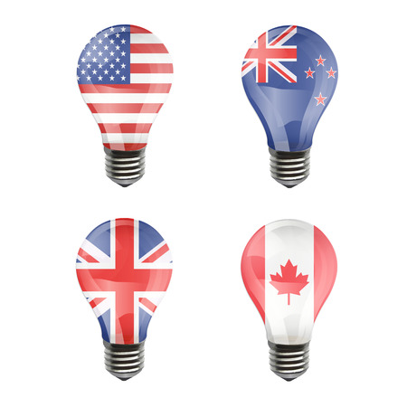 Realistic bulb of United Estates of America, United Kingdom, Canada, New Zeland Vector