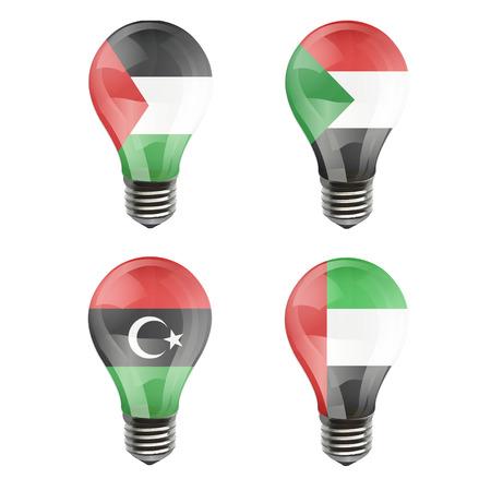 Realistic bulb of Libya, Sudan, Gaza Strip, Arab Emirates Illustration
