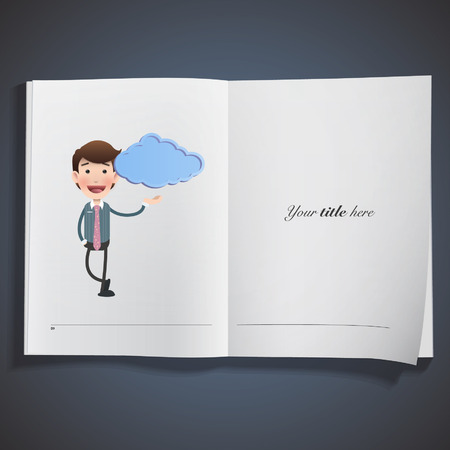 businessman with blue cloud printed on book Vector