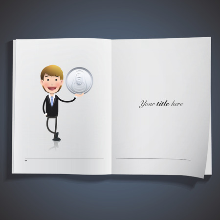 Businessman with can printed on book. Vector design.  Vector