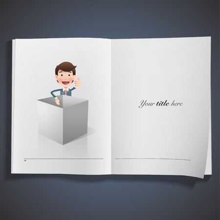 Businessman with grey box printed on book Vector