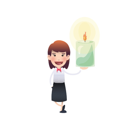 adult birthday party: Business woman with candle over isolated white background Illustration