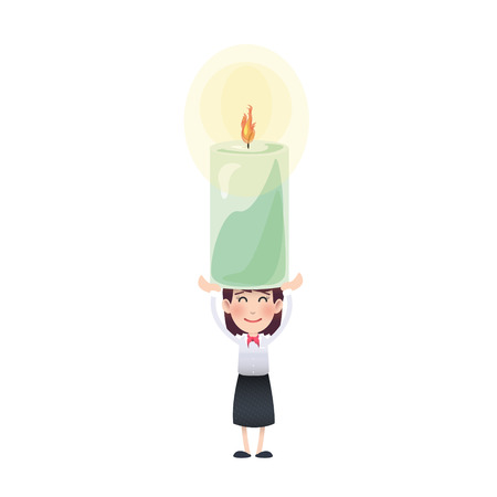 multiple birth: Business woman with candle over isolated white background Illustration