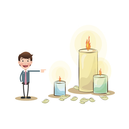 multiple birth: Businessman with candle over isolated white background Illustration