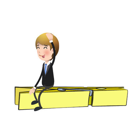 clothespin: Businessman with colorful clothespin over white background