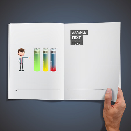 businessman with battery printed on book. Vector design Vector