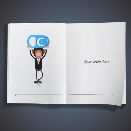 Business monkey with can printed on book. Vector design. Vector