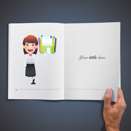 Business woman with diskettes printed on book. Vector Design. Vector