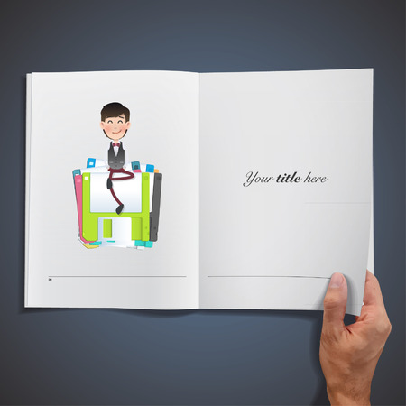 man holding book: Businessman with diskettes printed on book. Vector Design.