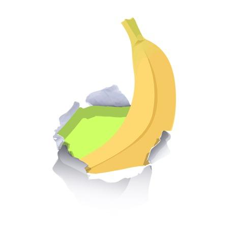 banana sheet: Banana inside hole paper over white background Illustration
