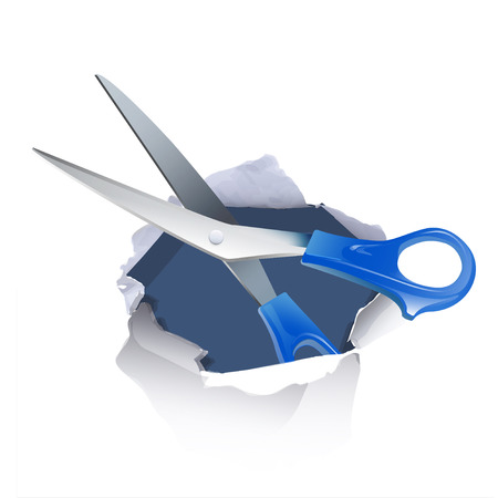 clippers: scissors inside hole paper over white background Illustration